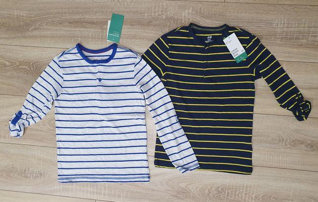 Koszulki bluzeczki z długim rękawem H&M 122/128 NOWE