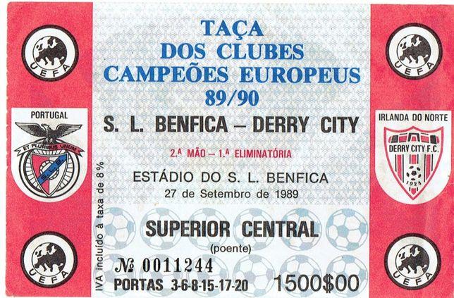 Bilhete Benfica Taça dos Clubes Campeões Europeus 1989
