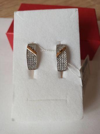 Kolczyki srebro 925 złoto NOWE