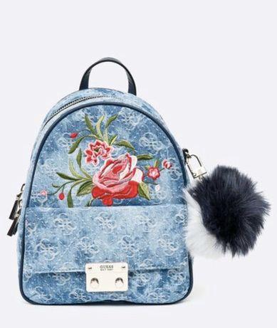 Oryginalny plecak jeansowy Guess róże