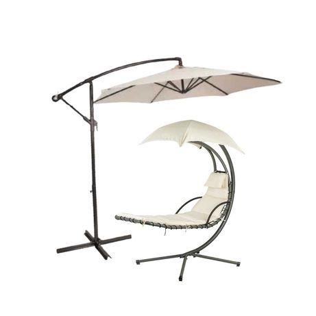 Fotel Leżak Ogrodowy wiszący + Parasol = Zestaw ogrodowy HIT < --