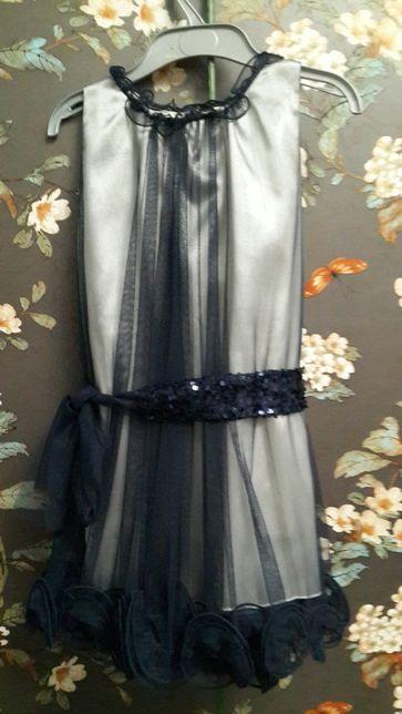 Платье праздничное синее вечернее с сеткой рост 110-122 5-7лет