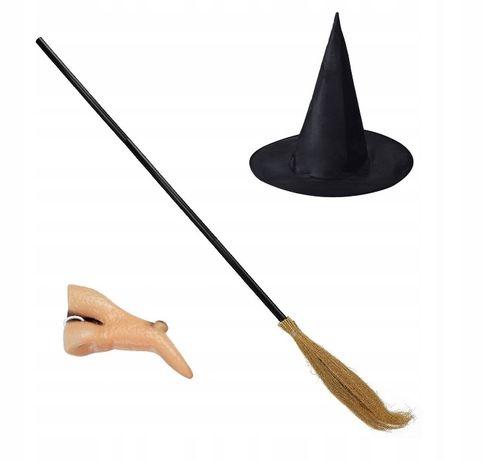 Strój czarownicy wiedźmy kapelusz nos miotła