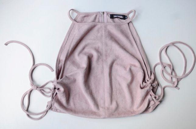 Top Różowy Zamszowy NOWY XL 42 Missguided Brudny Róż Zara H&M Mango