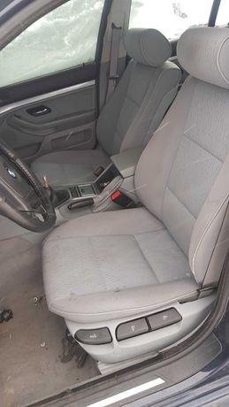 Fotele BMW E39 touring jasne grzane szare materialowe welur komplet