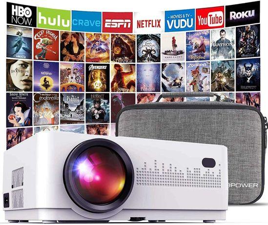 DBPOWER Mini proyector, 2200 Lumen Proyector LED de Video HD 1080P