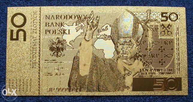 BANKNOT 50 Złotych JAN PAWEŁ II 24 Karat GOLD !! Powlekany 24 K Złotem