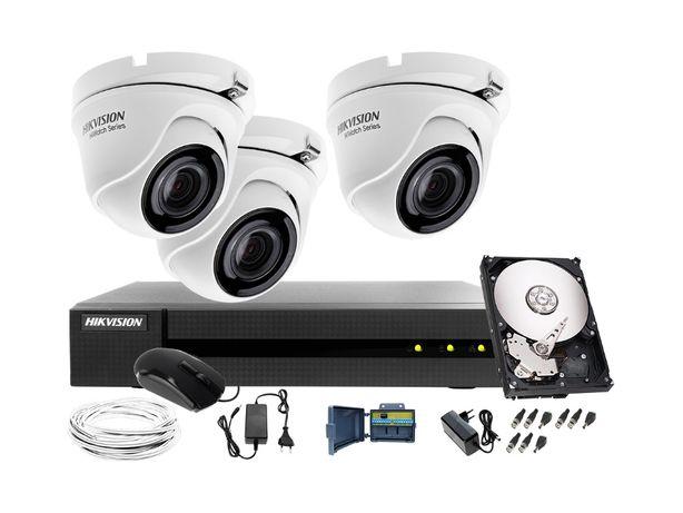 Monitoring zestaw do monitoringu 3x kamera kopułowa FULL HD IR 20m