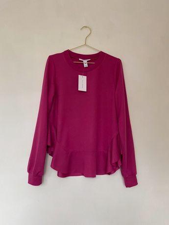 Nowa z metką różowa fuksja bluza z falbanką falbanka M NLY trend fiole