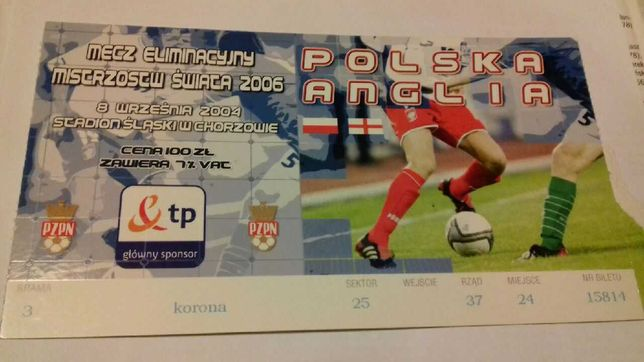 Bilet z meczu Polska - Anglia