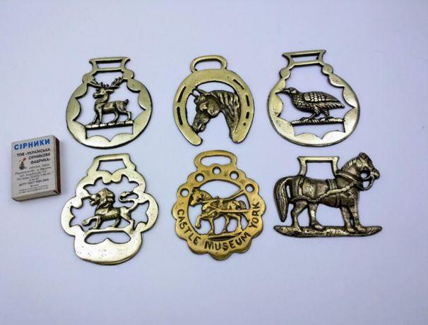 Медальоны на конскую упряж, збруя. Старинные, Англия.