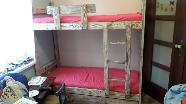Łóżko piętrowe 180×80 z litego drewna