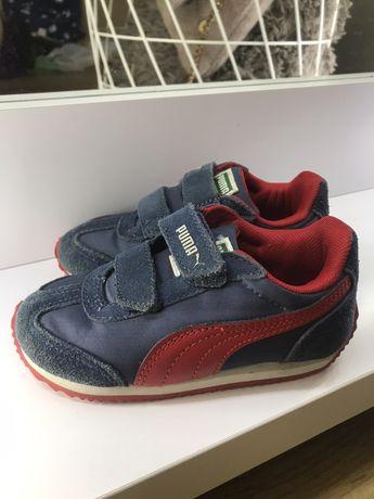 Кроссовки, кроссы замшевые синие с красным на липучке puma 24р замша
