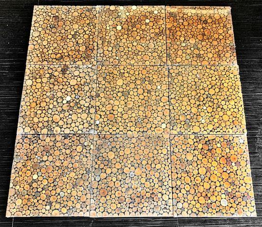 Painel azulejo c madeira embutida - 9 peças ~1m2 - NOVO - ENVIO GRATIS
