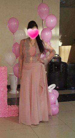 р.44-46 Нарядный костюм/платье, (Турция) ,цвет-розоваая пудра!