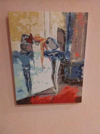 Картина акварелью тансующея балерина