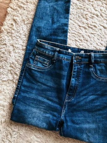 rurki proste jeansy pull&bear xs/s granatowe