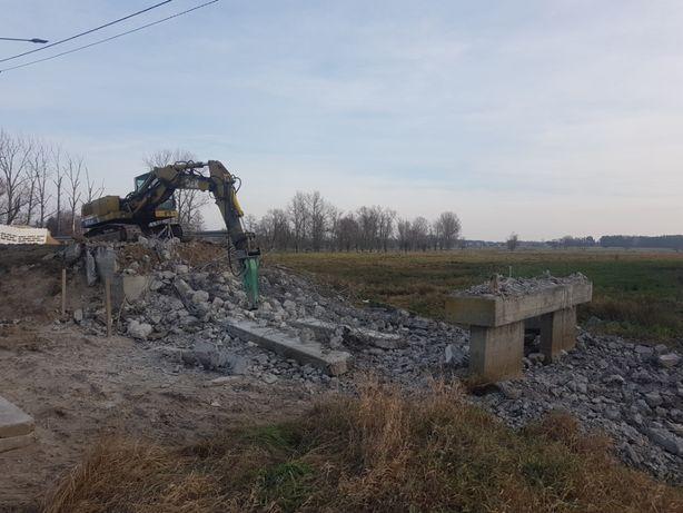 Rozbiorki wyburzenia budynkow prace ziemne koparka spychacz