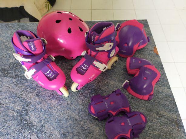 Conjunto patins capacete e acessórios