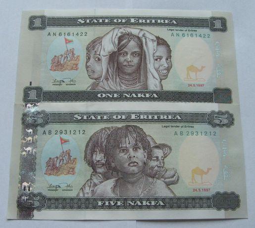 Banknoty ERYTREA - Z PACZKI BANKOWEJ - Zestaw Kolekcjonerski