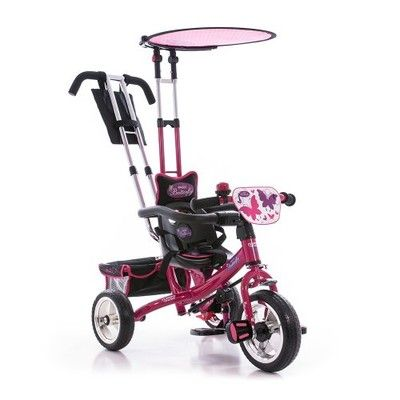 Детский трехколесный велосипед малиновый с бабочками.