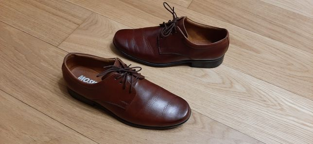 Pantofle#skórzane#brązowe#komunia