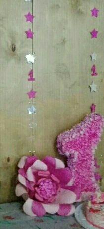 Цифра единица,цветок и герлянда.