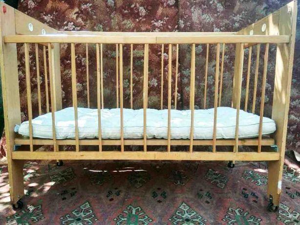 Детская кроватка фабричного производства с матрасом, ссср, +подарок