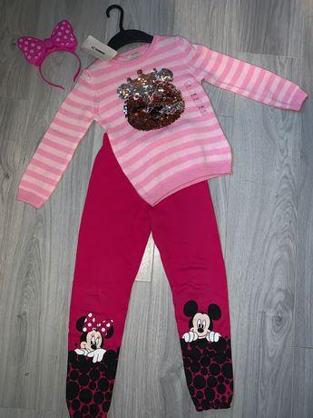 Свитшот кофта штаны хлопок H&M Minnie Mouse Disney свитер костюм