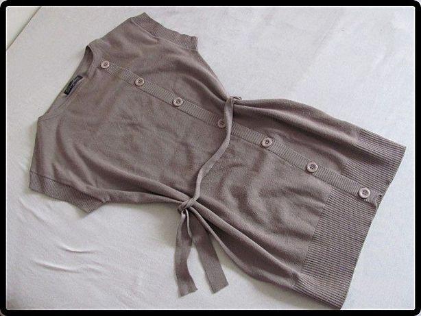 Sweterek tunika z paseczkiem rozmiar M/L asymetryczne guziki