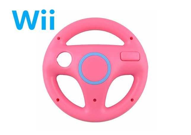 Wii   Wii U - Volante Rosa - Mario Kart - NOVO