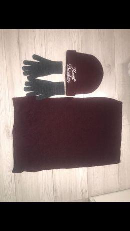 Zesatw zimowy czapka+komin+rękawiczki