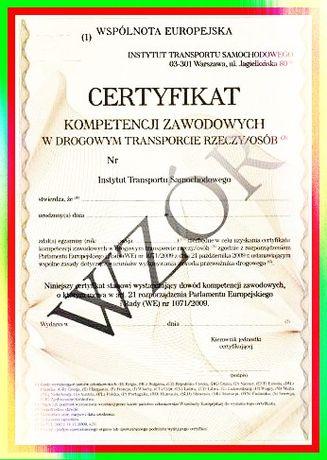 Certyfikat kompetencji zawodowych rzeczy/osób/spedycja||300-400zł
