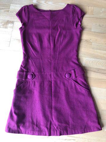 Bordowa Sukienka wełniana 36