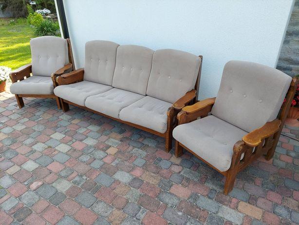 Zestaw wypoczynkowy drewniany kanapa fotele komplet drewno