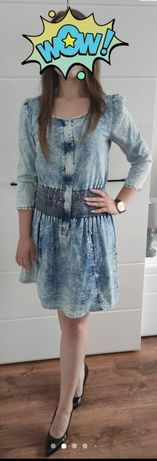 Delikatna sukienka (materiał przypomina a'la jeans)