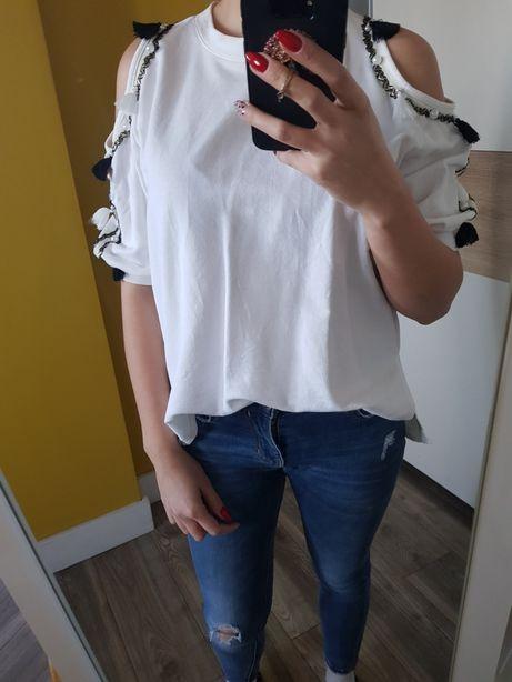 Bluzka bluza odkryte ramiona frędzle