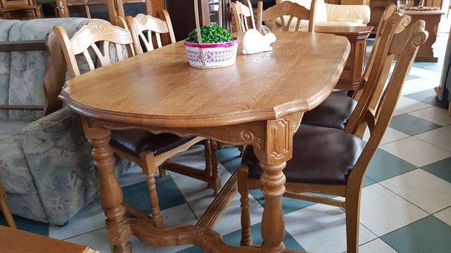 Stół 100% dębowy rozkładany z 6 krzesłami w skórze