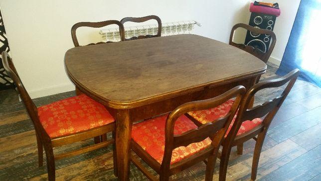 Stół z 6 krzesłami około 100 letni