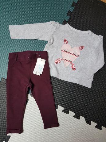 Primark nowe legginsy i bluzka Lupilu r. 74