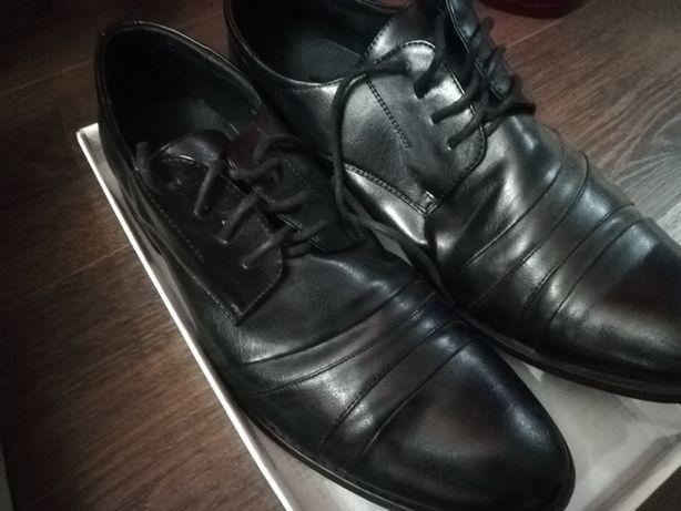 Nowe skórzane eleganckie pantofle buty męskie Neromarrone rozmiar 46
