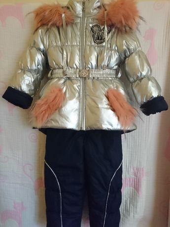 Зимний комбез с курткой серебро 98