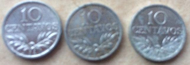 3 moedas 10 centavos de 1974