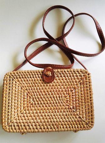 Nowa torebka balijska, pleciona, ratanowa