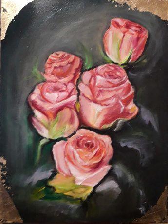 Розы с декорацией поталью, цветы картина маслом на холсте 40х30