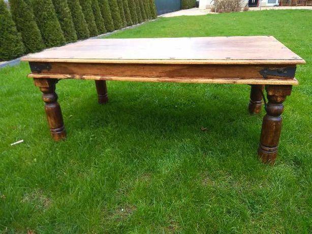 Zestaw mebli stół, ława, krzesła vintage, kolonialne