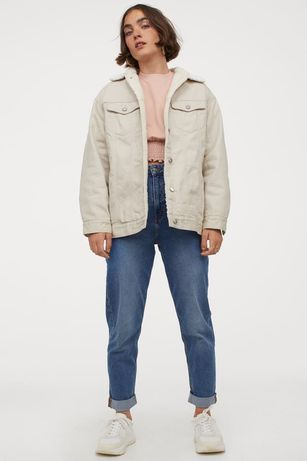 Курка пиджак H&M на овчине утепленная джинсовка курточка zara