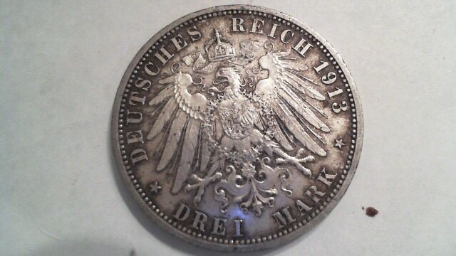Монета 3 марки 1913г. Вильгельм 25 лет правления 1888-1913г. А