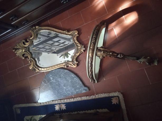 Conjunto Espelho Mesa Mármore Excelentes Raros