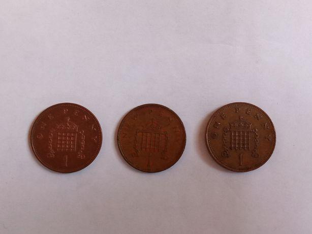 Монеты 1 пенни Великобритания 1975, 1988, 1998 годов